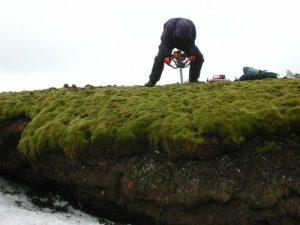 De onderzoekers boorden diep in de bodem om het bevroren mos te vinden. Bron: P. Boelen