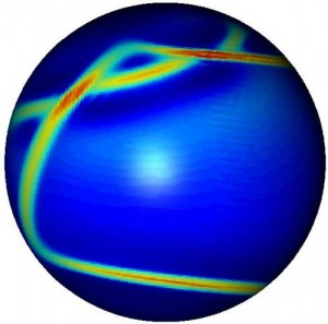 Breuken tussen platen ontstonden nabij zwak gesteende. Dit beeld is afkomstig uit de simulatie van geoloog David Bercovici.