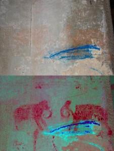 Voordat de onderzoekers het kleurcontrast verhoogden, waren de plaatjes van Angkor Wat nauwelijks te zien. Bron: Bron: Noel Hidalgo Tan, Australian National University/Canberra
