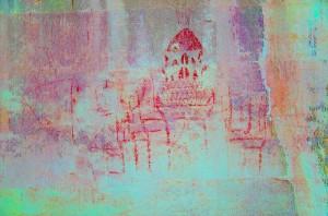 Selfie? De muren van Angkor Wat droegen ook een tekening van Angkor Wat zelf. Bron: Noel Hidalgo Tan, Australian National University/Canberra