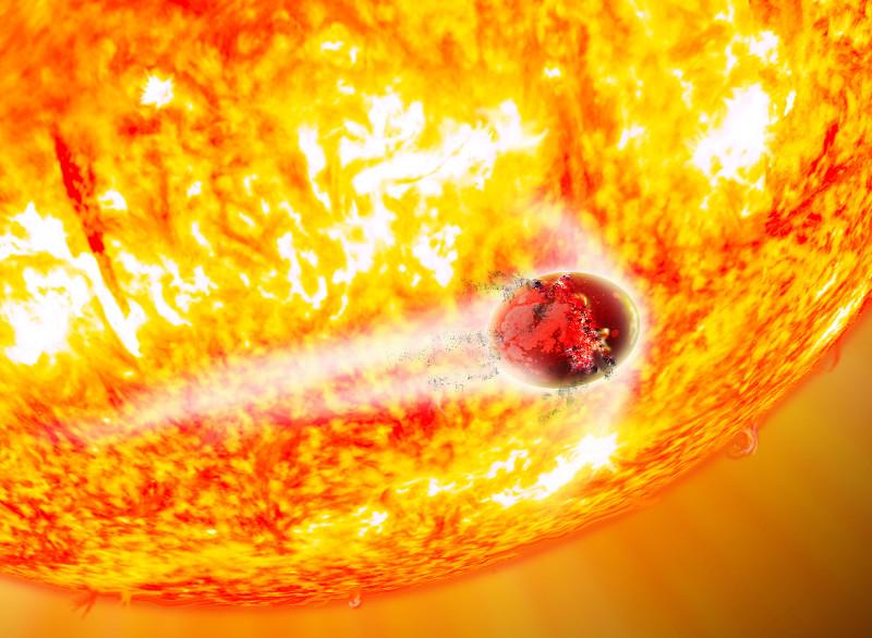 In deze artistieke impressie is te zien hoe de ster planeet Kepler-56b uiteenrijt. Bron: David A. Aguilar (CfA)