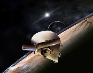 De ruimtesonde zal binnenkort Pluto voorbij scheren, een missie die bekend staat als New Horizons.  Bron: Nasa