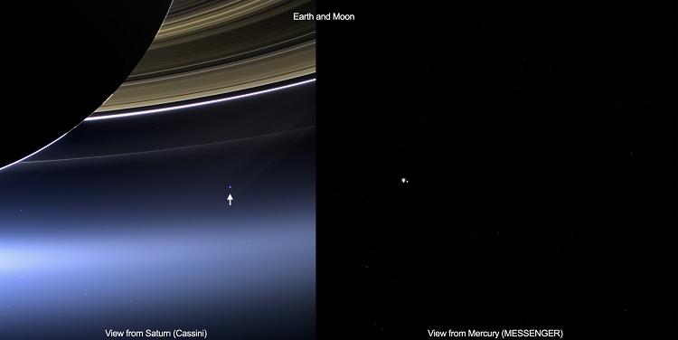 Twee verschillende blikken op de aarde en de maan. Links is een foto van Cassini te zien. De afstand tussen de ruimtesonde en onze planeet bedroeg 1,4 miljard kilometer. Rechts een foto van de MESSENGER-sonde die om Mercurius draait, op een afstand van 98 miljoen kilometer. Beide foto's zijn op 19 juli gemaakt. Bron: NASA/JPL-Caltech/Space Science Institute & NASA/Johns Hopkins University/Carnegie Institution of Washington