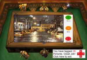 Een ruwe conceptversie van het 'fotospel' Bron: Screenshot van WoW, gewijzigd door IRL