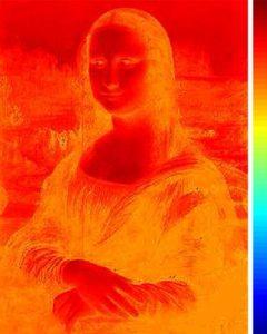 Lichte delen van het schilderij ontvingen veel warmte, terwijl donkere delen aan weinig warmte zijn blootgesteld. Bron: Georgia Institute of Technology