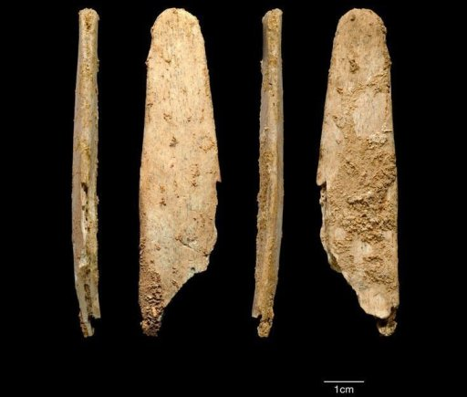 Het voorwerp is gemaakt van hertenrib. Bron: Abri Peyrony & Pech-de-l'Azé | Projects