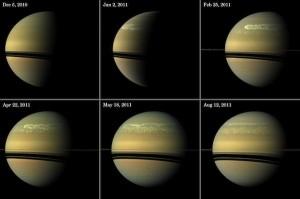 Beelden van de Cassini-ruimtesonde laten de ontwikkeling van de superstorm zien. Bron: NASA/JPL-Caltech/Space Science Institute