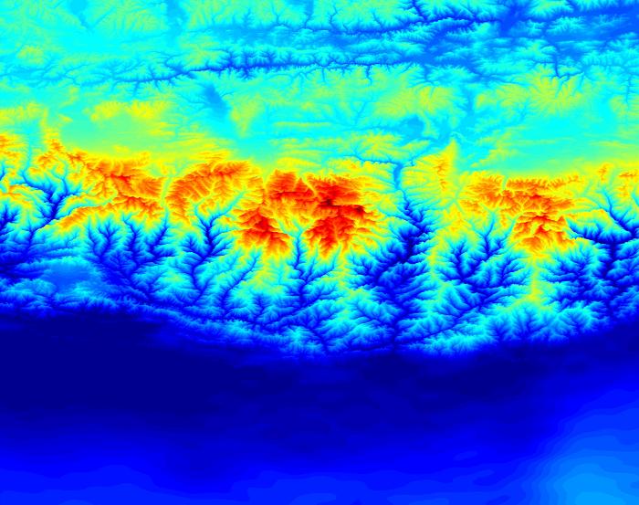 De zwaartekracht in de Himalaya. In het midden staat de Mount Everest. Bron: Western Australian Centre for Geodesy