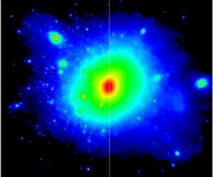 De twee verschillende donkere-materie-modellen. De kleuren laten de dichtheid van donkere materie zien (rood is een hoge dichtheid, blauw is een lage dichtheid). Links is het oude model te zien: rondom donkere-materie-clusters zijn veel sterrenstelsels gevormd. Rechts is het nieuwe model te zien: de donkere materie is verspreid, en daardoor zijn er minder sterrenstelsels ontstaan.  Bron: Durham University
