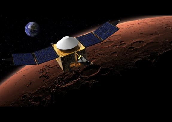 Maven in zijn baan om Mars. Bron: NASA/GSFC