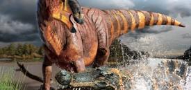 Het fossiel is in een oude rivierbedding gevonden. Wellicht was deze dinosaurus het slachtoffer van een megakrokodil. Bron: Julius T. Csotonyi