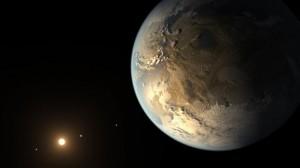 Exoplaneet Kepler-186f voldoet aan twee van de drie eigenschappen van een echte 'tweeling aarde'. Afbeelding: NASA.