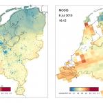 Deze iSPEX-kaart laat de metingen van 8 juli 2013 zien. De 6007 blauwe punten laten de individuele metingen zien. De AOT (Aerosol Optical Thickness) toont de hoeveel fijnstof in de lucht. Er was op deze dag relatief veel stof in de lucht, dankzij bosbranden in Noord-Amerika. Rechts is een meting van de satelliet MODIS te zien, die ook stof meet. Bron: iSPEX