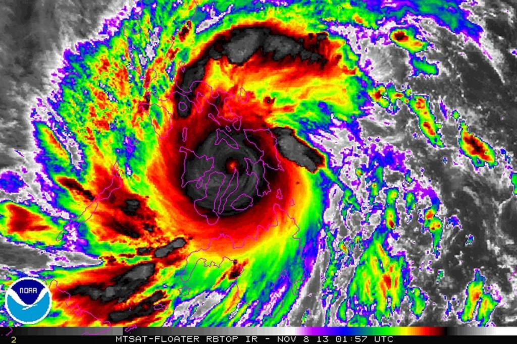 Haiyan in infrarood. Bron: COMS-1