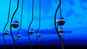 Een artistieke impressie van IceCube. 5160 sensoren hangen aan stalen kabels onder het ijs van Antarctica. Bron: Jamie Yang