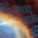 Een koolwaterstof dat bestaat uit een rooster koolstofatomen (blauw) met aan de buitenranden waterstof (grijs) verliest dankzij straling zijn waterstofatomen. Het gestripte, blauwe rooster kan opvouwen tot een buckybal. Bron: HST/NASA Alessandra Candian