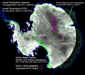 Deze kaart toont zowel het vorige record, als de nieuwe laagste temperatuur. Bron: Ted Scambos, National Snow and Ice Data Center