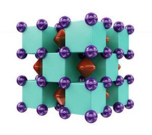 De kristalstructuur van Na2He. De paarse bollen zijn natriumatomen. Deze zitten 'in' heliumatomen (de groene kubussen). In de rode stukken zitten elektronenparen. Beeld: Artem R. Oganov
