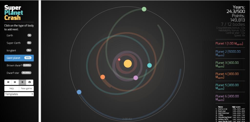 Screenshot van Super Planet Crash.