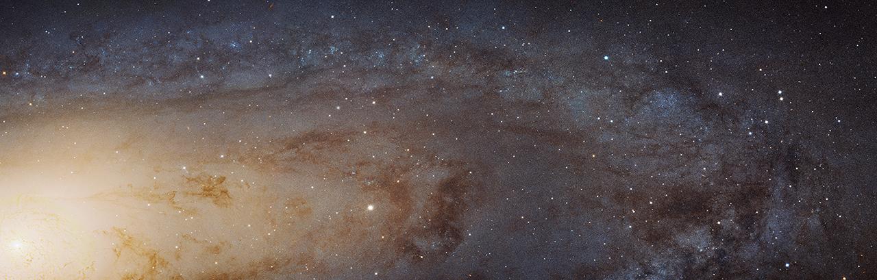 Een stukje Andromedastelsel. Bron: NASA, ESA, J. Dalcanton, B. F. Williams, L. C. Johnson, PHAT en R. Gendler.