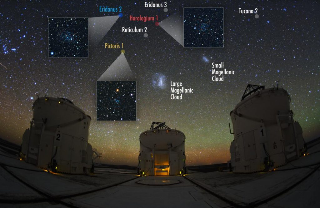 In deze afbeelding zijn zes van de negen nieuwe stelsels te zien. De andere drie bevinden zich net buiten het blikveld. Bron: Y. Beletsky/Carnegie Observatories