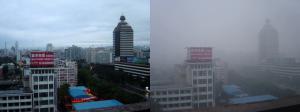 Beijing met en zonder smog.  Bron: Wikimedia Commons/CMBJ