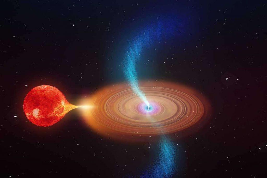 Het zwaarte gat hevelt materiaal over van een ster die eromheen draait. Beeld: ICAR.