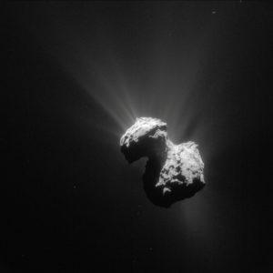 In de gaswolken rondom komeet 67P blijkt verrassend veel zuurstof aanwezig. Beeld: ESA/Rosetta/NAVCAM