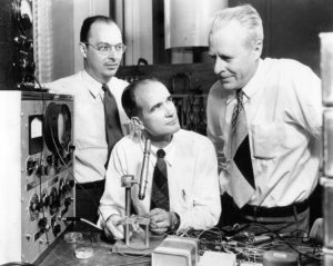 John Bardeen, William Shockley en Walter Brattain in Bell Labs in 1948. Beeld: Wikimedia Commons