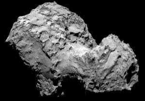 Komeet 67P/Churyumov–Gerasimenko gooit stof de ruimte in.  Bron: ESA