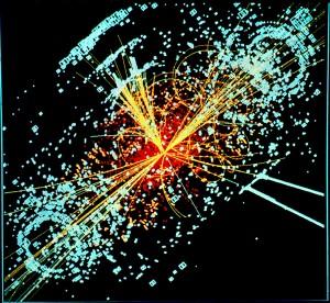 Een voorbeeld van botsende deeltjes. Deze botsing is gesimuleerd: zo zou het verwachtte higgsevent eruit zien in de CMS-detector van CERN.