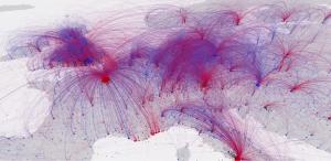Door de geboorte- en sterfplaatsen van meer dan 120.000 mensen te verbinden ontstond er een patroon.  Bron: Schich et al., 2014