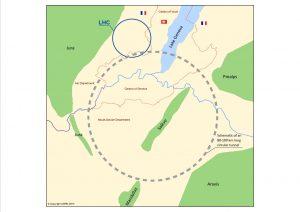 De grootte van de nieuwe FCC ten opzichte van de LHC te zien op de kaart. Foto; Cern
