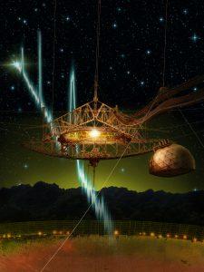 Artistieke impressie van de Arecibo-telescoop (diameter 305 meter) in Puerto Rico met zijn hangende platform waaraan de radio-ontvanger is bevestigd. Beeld: Danielle Futselaar