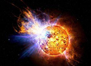 Een artist impression van een flare star. Bron: Casey Reed/Nasa