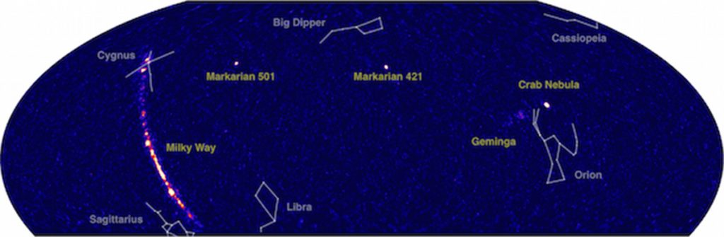 HAWC's hemelkaart toont gemeten gammastraling.