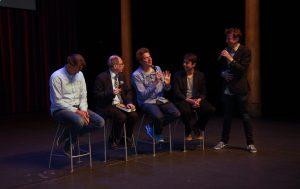 Van links naar rechts: Jan  Pieter van der Schaar, Gerard 't Hooft, David Abbink, George van Hal en New Scientist-hoofdredacteur Jim Jansen.