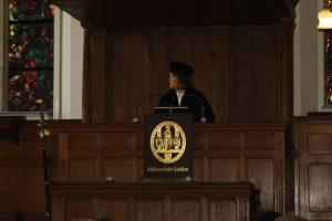 Ionica Smeets tijdens haar oratie op 13 mei 2016 in Academiegebouw Rapenburg in Leiden