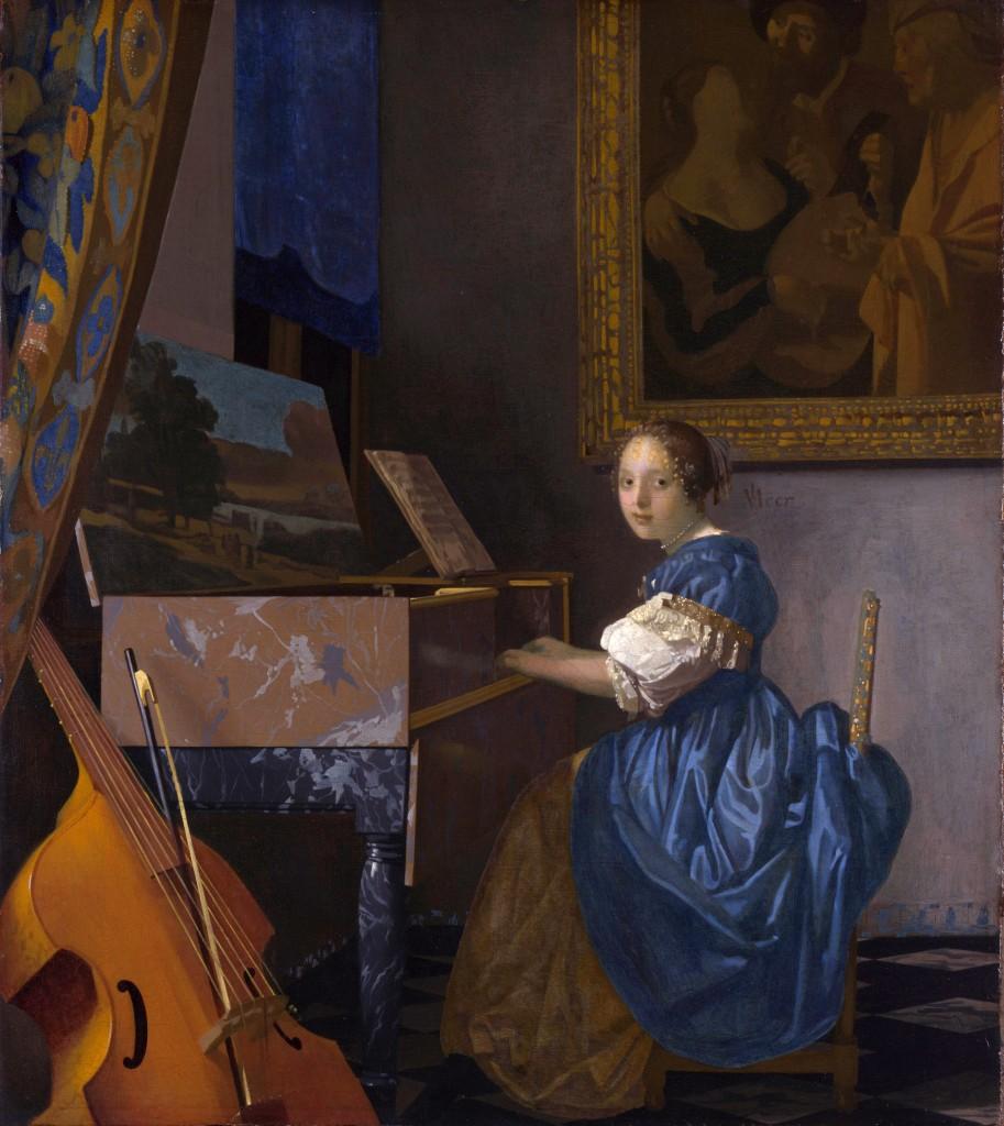 De Zittende Klavecimbelspeelster van Vermeer. Een analyse van de dradenstructuur in het doek toonde aan dat dit inderdaad een echte Vermeer is. Bron: Wikimedia commons