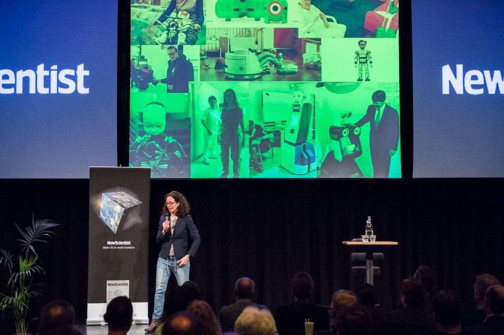 Amsterdam, 24 maart 2016 – New Scientist Café robotisering in Pakhuis de Zwijger. Vanessa Evers, David Abbink, George van Hal & Elly A. Konijn spreken over de robotisering van onze samenleving en de fundamenteel wetenschappelijke en technologische ontwikkelingen die daaraan ten grondslag liggen. Foto: Mats van Soolingen