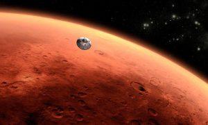 Artist impression van Curiosity's reis naar Mars. Nasa hield de straling in de capsule van Curiosity gedurende de reis goed in de gaten. Bron: Nasa/JPL-Caltech/Rex