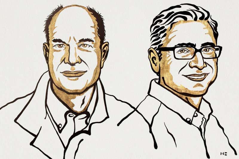 Nobelprijswinnaars David Julius en Ardem Patapoutian. Beeld: Niklas Elmehed/Nobel Prize Outreach