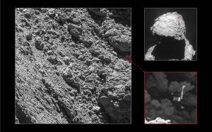 Locatie op komeet 67P waar Philae terechtgekomen is. Beeld: ESA/Rosetta/MPS for OSIRIS Team MPS/UPD/LAM/IAA/SSO/INTA/UPM/DASP/IDA.