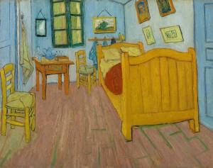 De slaapkamer van Van Gogh, zoals het schilderij er vandaag de dag uitziet.