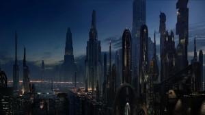 Weekendje weg? Met sneller-dan-het-lichtmotoren vlieg je moeiteloos naar de ultieme sciencefictionmetropool op de planeet Coruscant uit de film Star Wars.