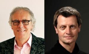 Govert Schilling (links) en Vincent Icke (rechts)