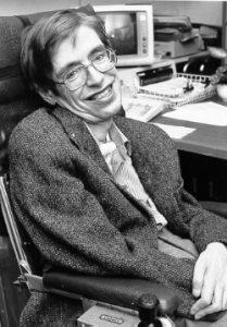 Stephen Hawking bij de NASA in de jaren tachtig. Bron: NASA