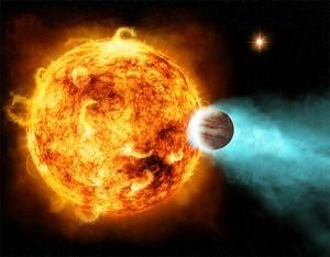 De ultieme burenruzie. Deze ster staat op het punt zijn nabije planeet uiteen te scheuren.  Bron: M. Weiss/CXC/Nasa