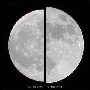 Links maan tijdens het apogeum en rechts tijdens het perigeum. Beeld: Wikimedia Commons, Marcoaliaslama