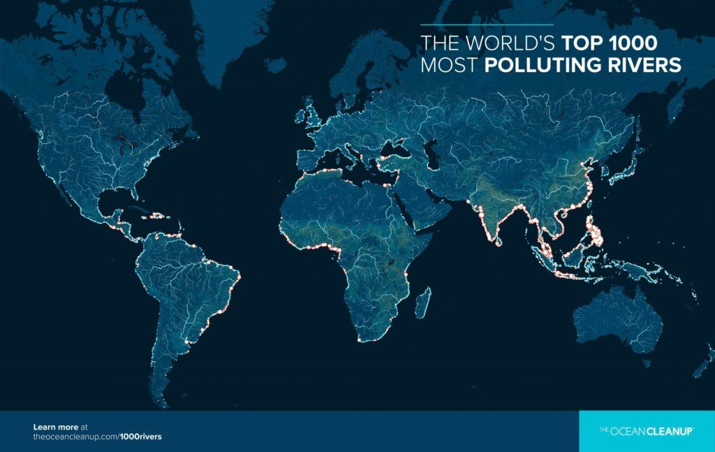 Wereldkaart met de top 1000 meest vervuilende rivieren